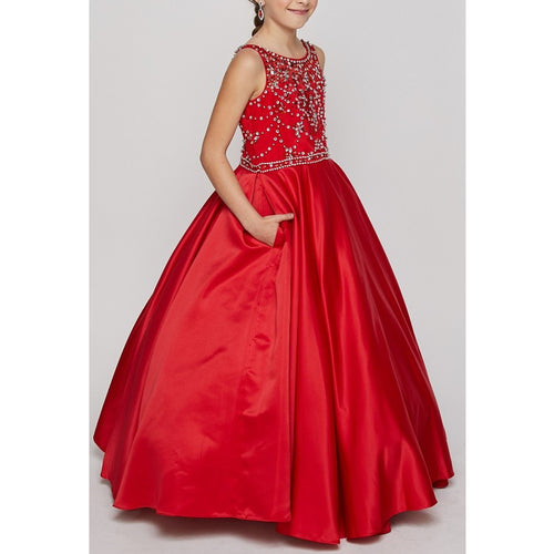 RHINESTONES AND BEADS BODICE WITH PLEATED SATIN SKIRT