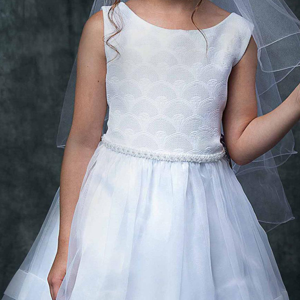 SLEEVELESS COMMUNION DRESS WITH FAN SHAPE PATTERN BODICE