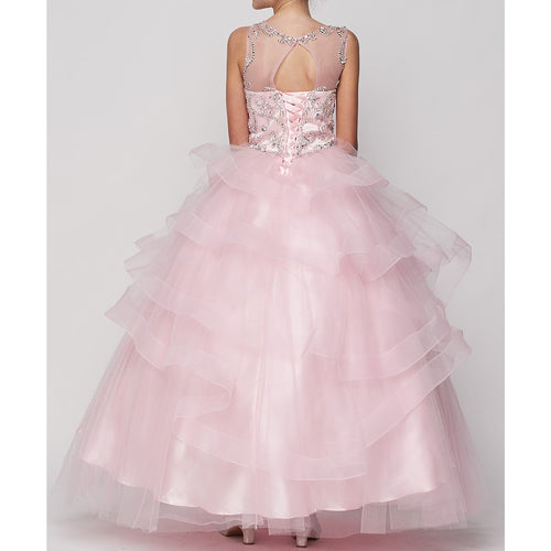 FULL LENGTH JEWEL BEADED NECKLINE AND BODICE WITH RUFFLE TULLE SKIRT