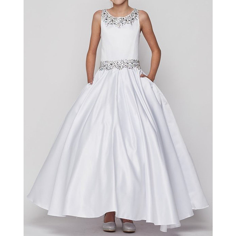 SHIMMERING BEADING PLEATED SKIRT SATIN LONG DRESS