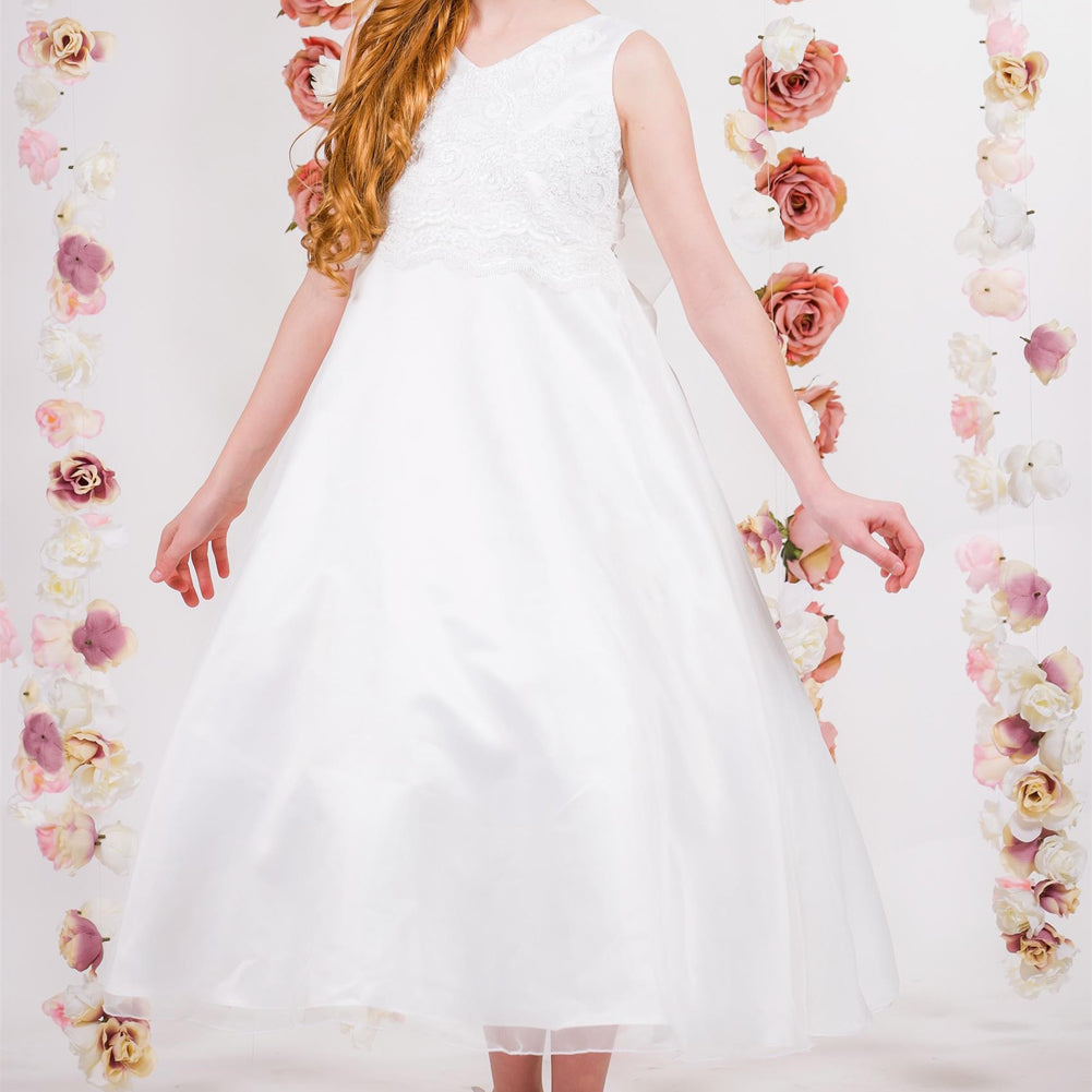 FULL LENGTH DRESS WITH LACE APPLIQUE ON SATIN BODICE