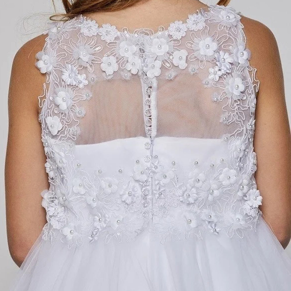 RAISED FLOWER APPLIQUES WITH PEARL BEADS ON ILLUSION LACE BODICE