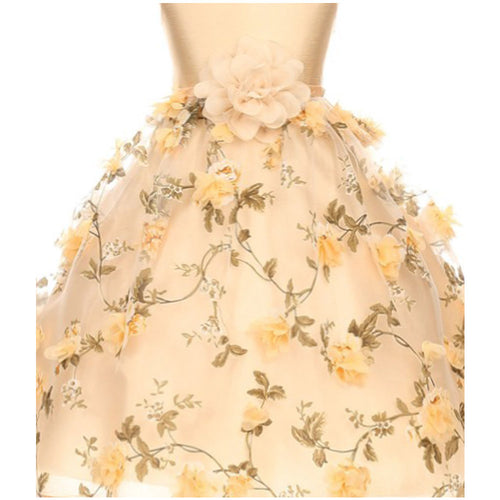 TAFFETA DRESS WITH FLOWERS ALL OVER ORGANZA SKIRT