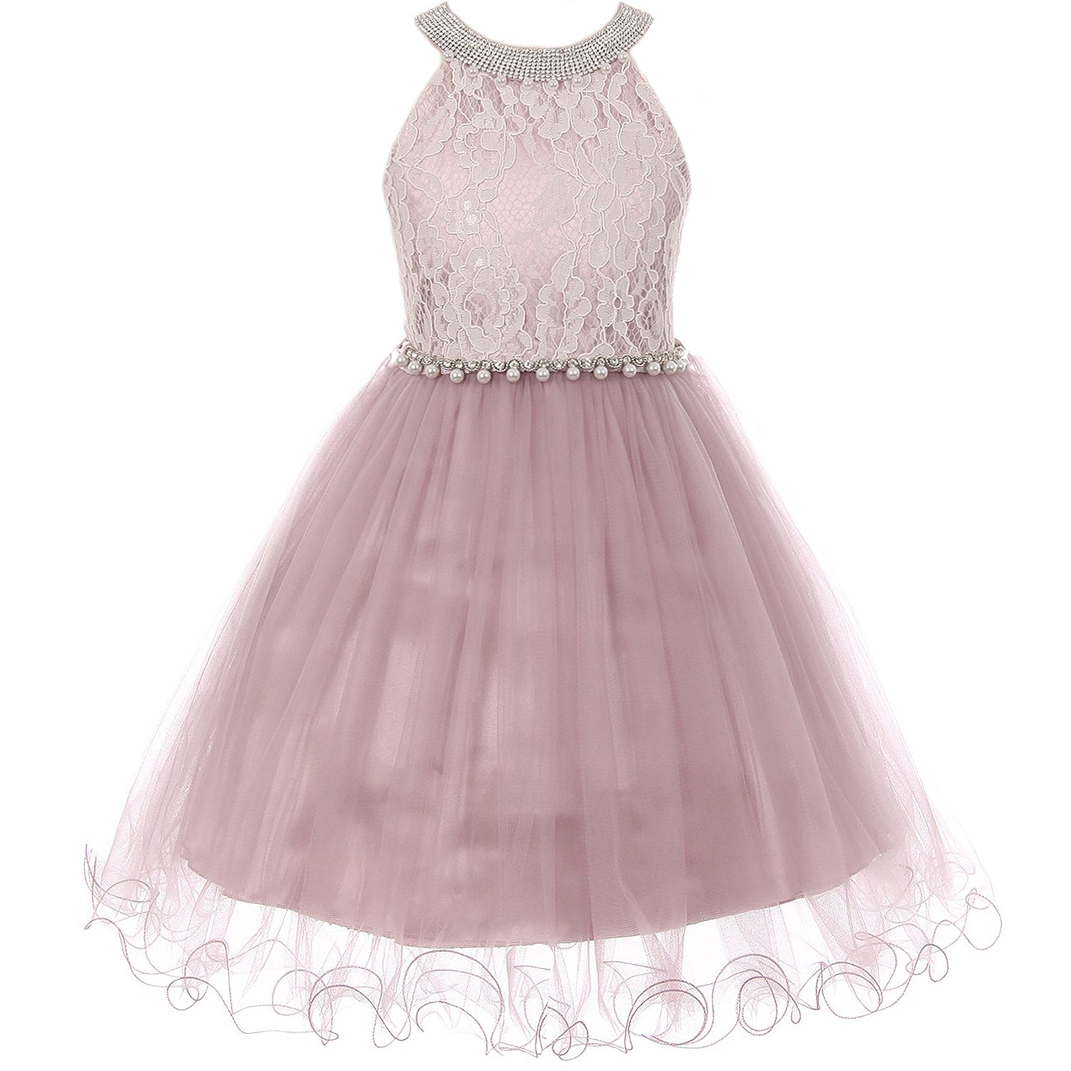 RHINESTONES HALTER NECK LACE BODICE WIRED TULLE SKIRT
