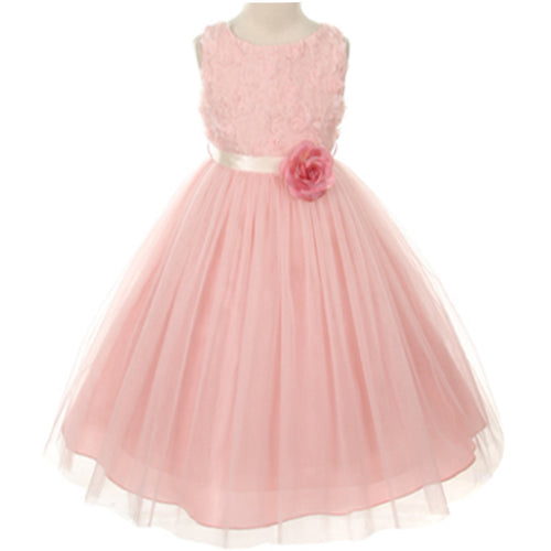 ROSETTE BODICE SATIN SASH TULLE SKIRT FLOWER GIRL DRESS