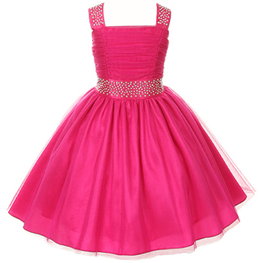 TULLE DRESS WITH RHINESTONES ADORN THE SHOULDERS AND WAIST