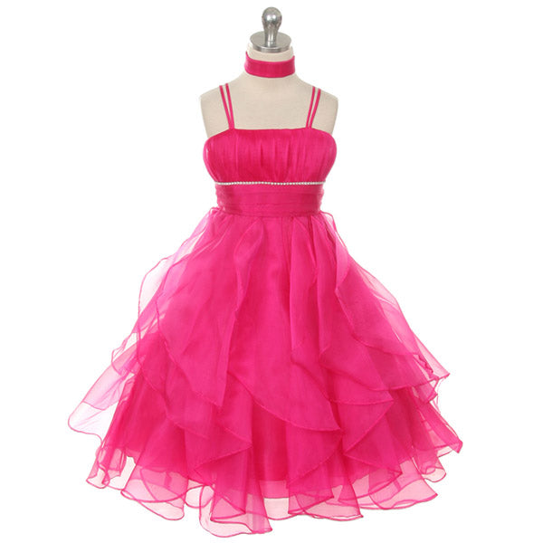 ASYMMETRICAL RUFFLES ORGANZA SKIRT WITH RHINESTONES ON WAISTLINE
