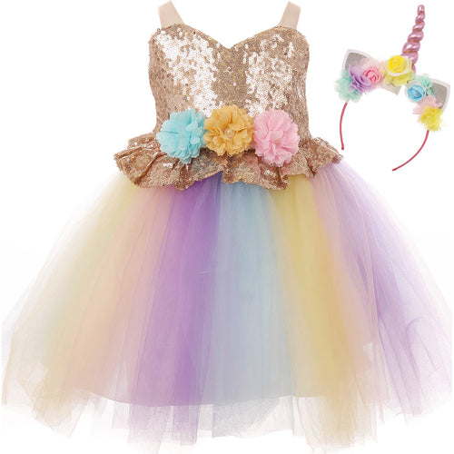 BABY DRESS WITH GOLD SEQUINS BODICE AND RAINBOW TULLE SKIRT