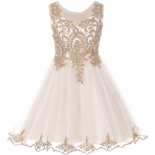 SLEEVELESS DRESS WITH GOLD PATTERN TULLE AND RHINESTONES ON BODICE