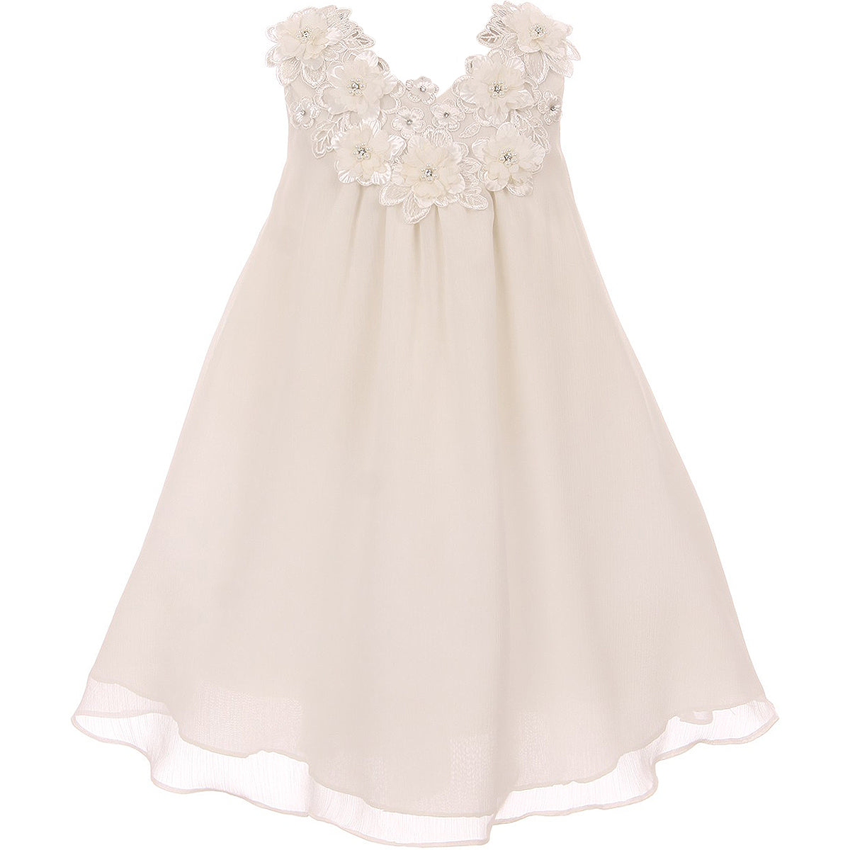 A-LINE CHIFFON WITH FLOWER AND SIMULATED PEARLS