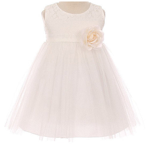 LACE BODICE TULLE SKIRT WITH WAIST FLOWER BROOCH INFANT BABY GIRL DRESS