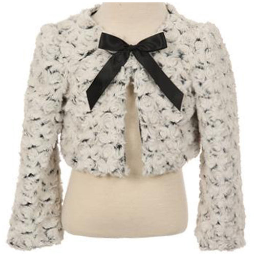 Two Tone Faux Fur Satin Bow Girl Bolero Jacket