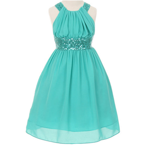 CHIFFON DRESS WITH SEQUINS ON WAISTBAND AND CROSS BACK BODICE
