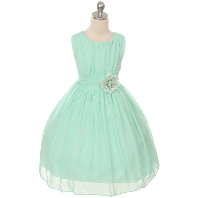 Ruched Round Neck Yoryu Chiffon Corsage Flower Girl Dress