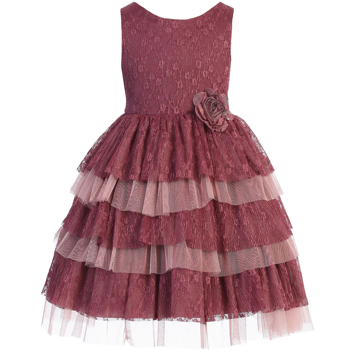 Tiered Layered Full Lace and Tulle with Waist Flower Pin Girl Dress