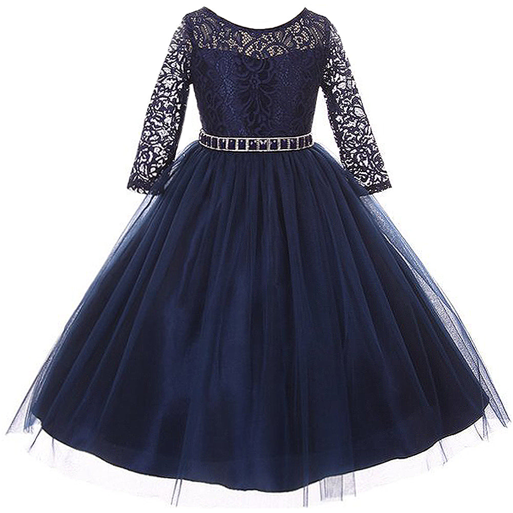 LONG SLEEVE STRETCHY LACE BODICE WITH BEADS AND RHINESTONES BELT