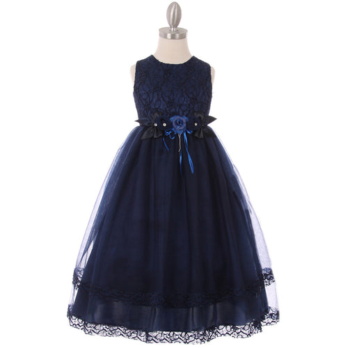 Glittery Lace Bodice Tiered-Lace Hem Tulle Skirt Girl Dress