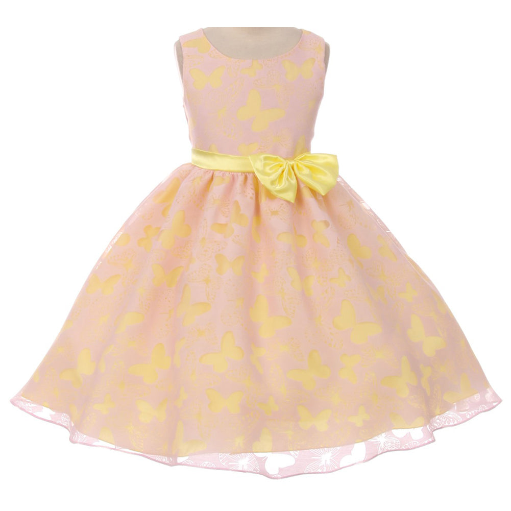 BUTTERFLY BURNOUT DESIGN ORGANZA DRESS WITH MATCHING CONTRAST COLOR BOW AND SASH
