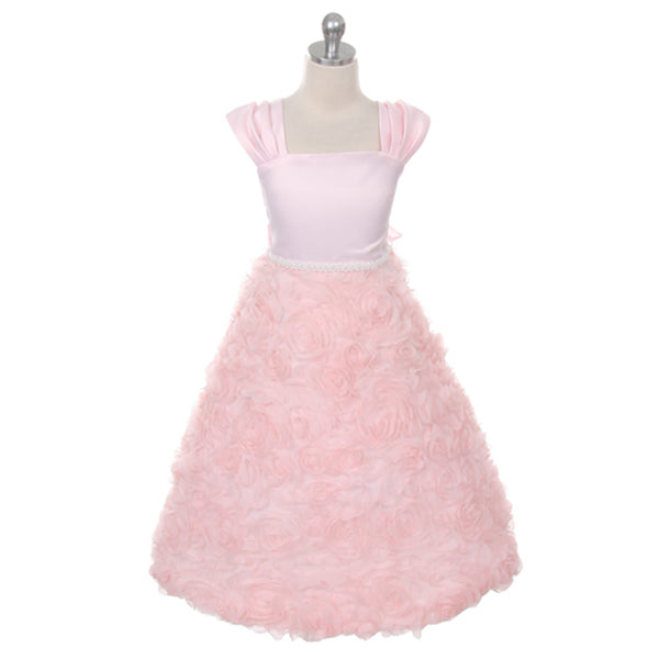 SLEEVELESS SATIN BODICE WITH ROSETTE SKIRT