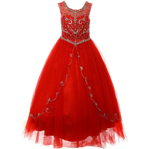 RHINESTONES ILLUSION BATEAU NECKLINE WITH CURTAIN LAYERS TULLE SKIRT