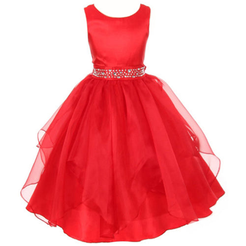 RHINESTONE BEADED WAIST HANDKERCHIEF RUFFLE ORGANZA SKIRT SATIN GIRL DRESS