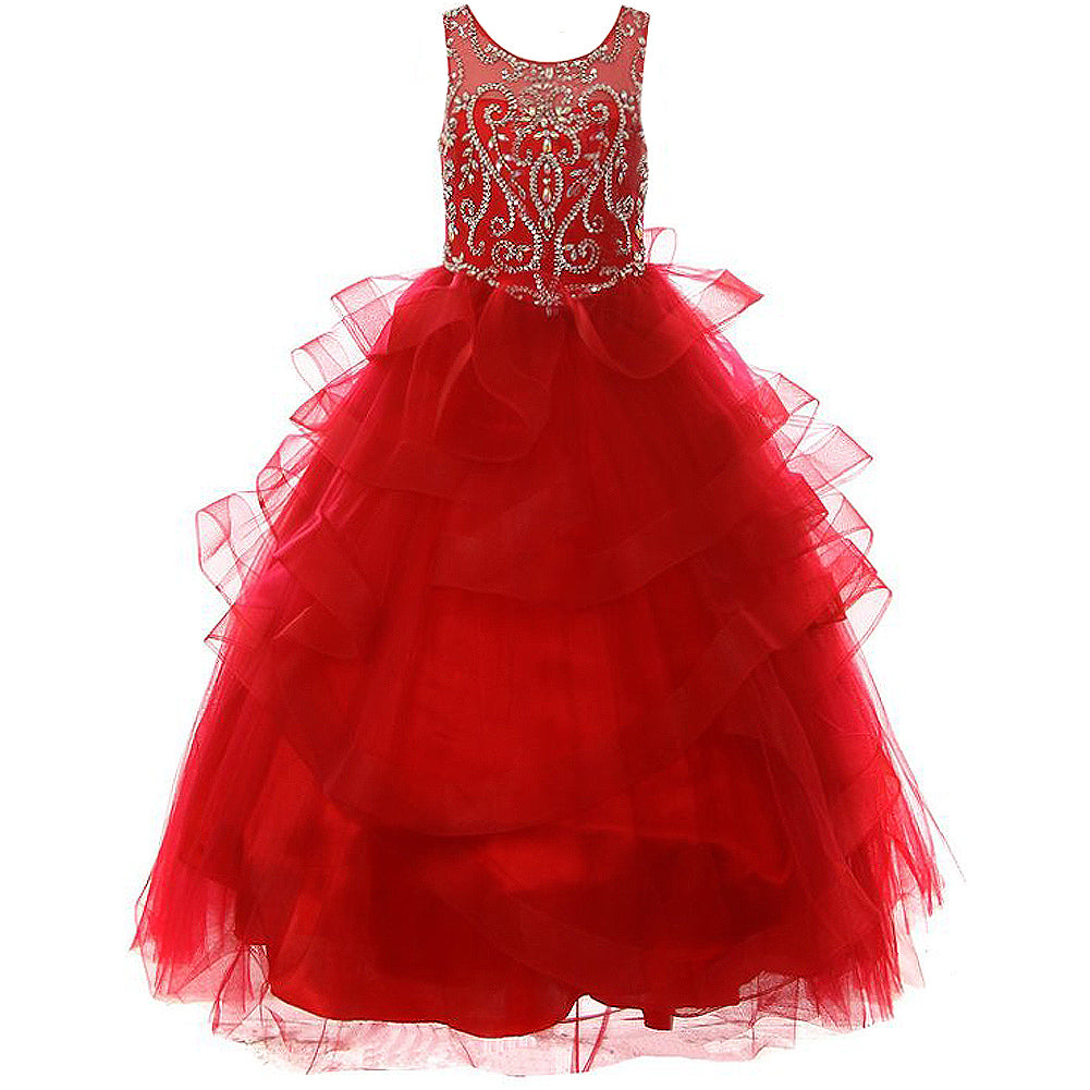 FULL LENGTH JEWEL BEADED ILLUSION RUFFLE MESH SKIRT