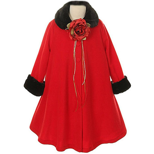 FUR TRIM FLEECE COAT WITH FLOWER CORSAGE AND RIBBONS