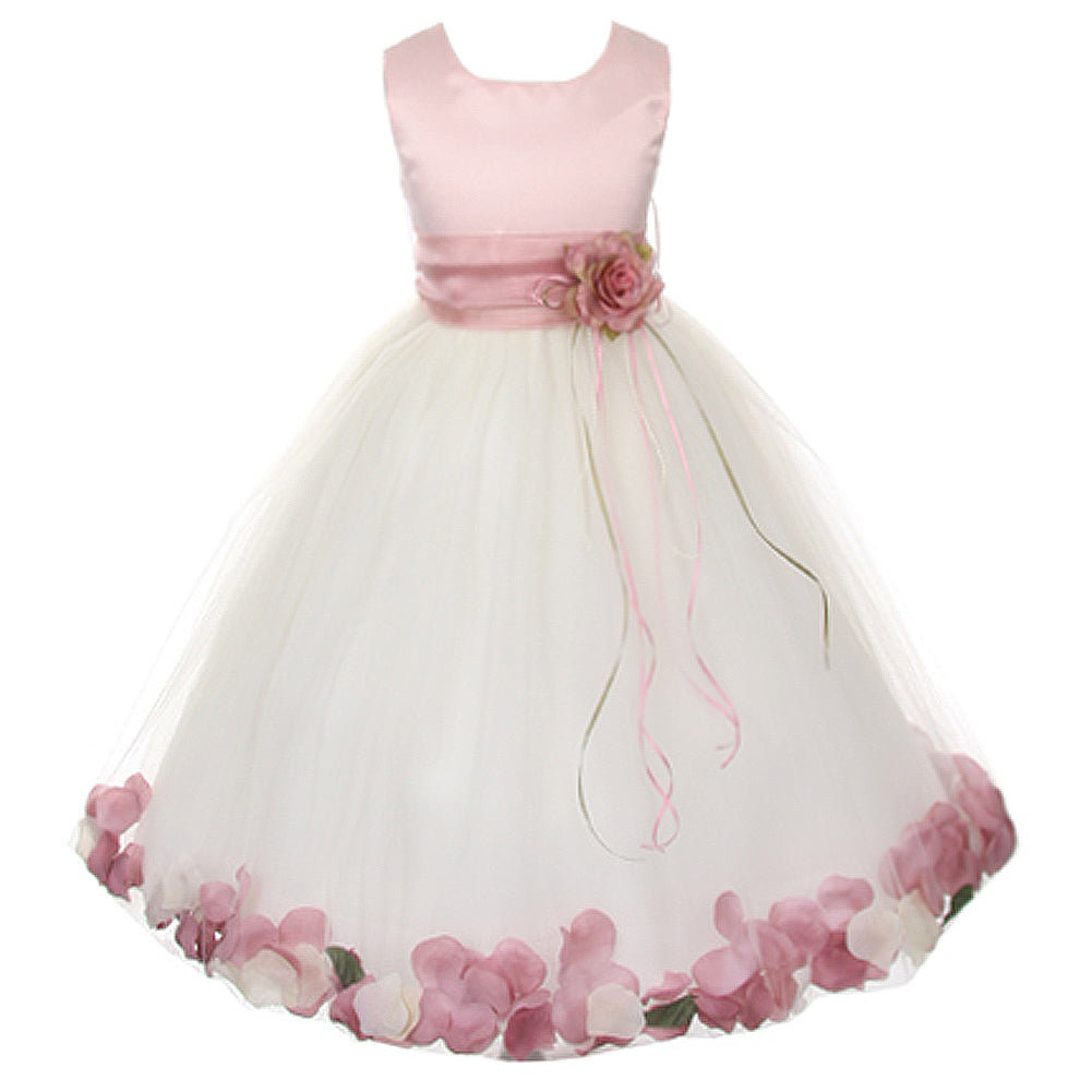 5836f44aa03 SATIN BODICE WITH FLOATING FLOWER PETALS MATCHING BROOCH AND ORGANZA SASH