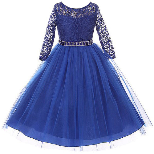 LONG 3/4 SLEEVES STRETCH LACE BODICE WITH BEADS AND RHINESTONES BELT