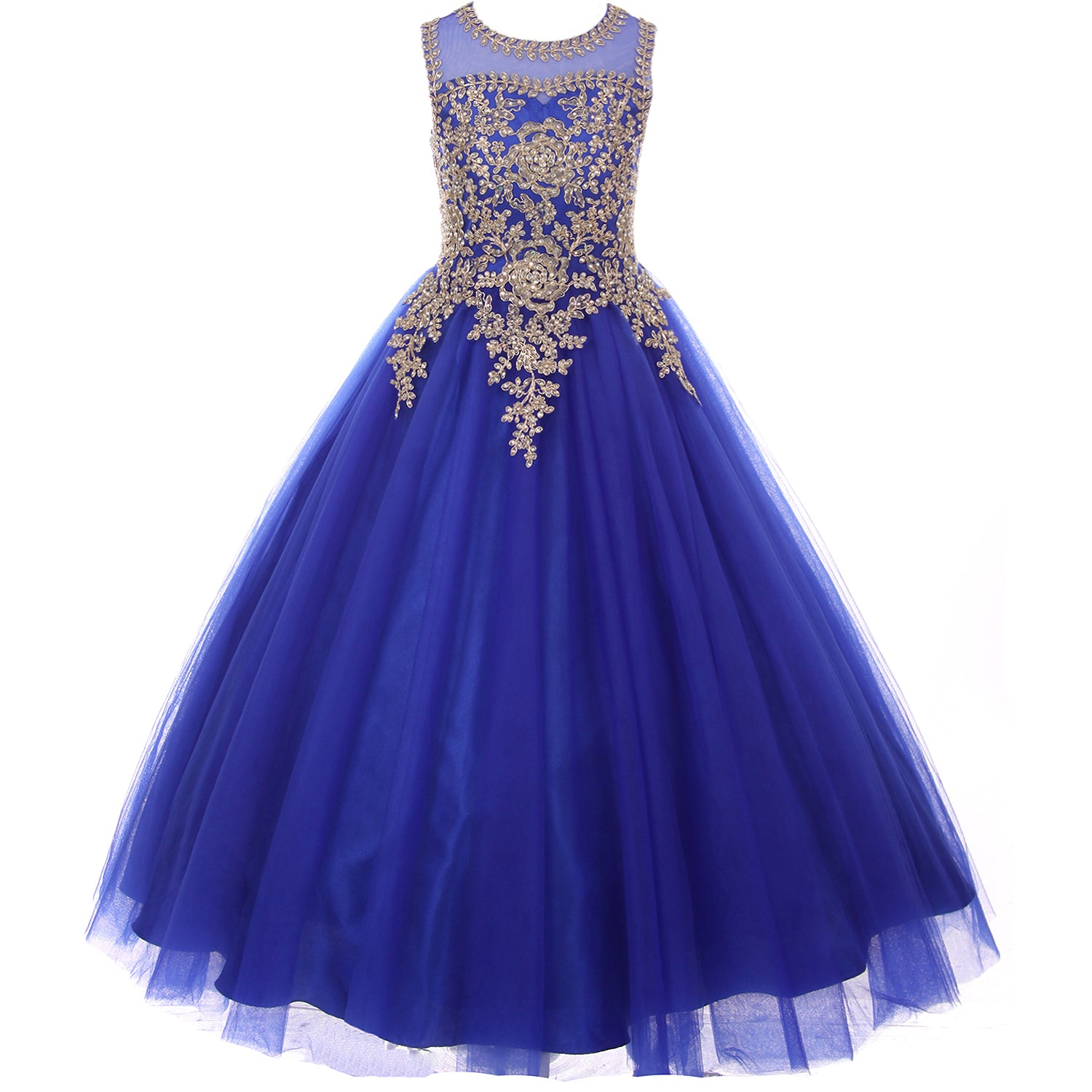 FULL LENGTH GOLD COILED TRIMMED BODICE ILLUSION BATEAU GIRL DRESS