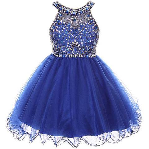 HALTER RHINESTONES SEQUINED BODICE WITH CORSET BACK CLOSURE