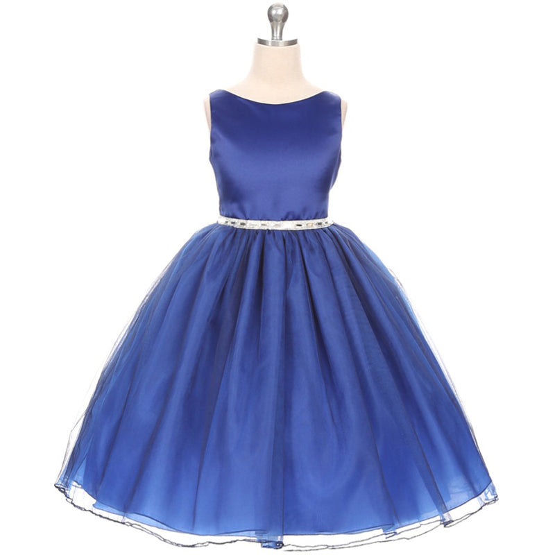 Classic A-Line Soft Shiny Satin Bodice Tulle Skirt Flower Girl Dress