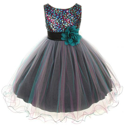 MULTI COLOR SEQUINS BODICE WITH TRIPLE COLOR LAYERED TULLE