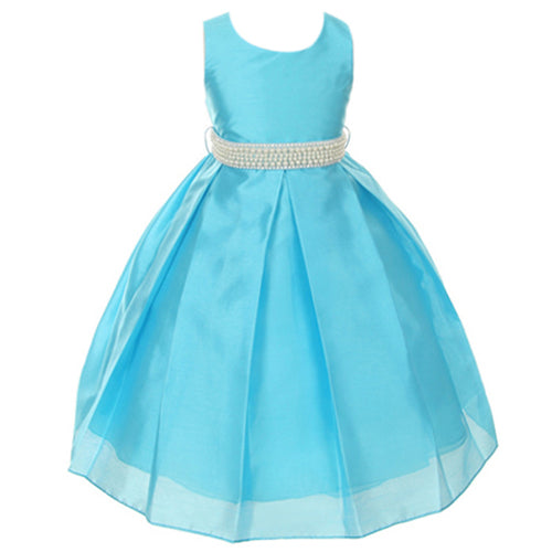 CLASSIC ELEGANT SHANTUNG PLEATED SKIRT GIRL DRESS WITH PEARL BEADED SASH
