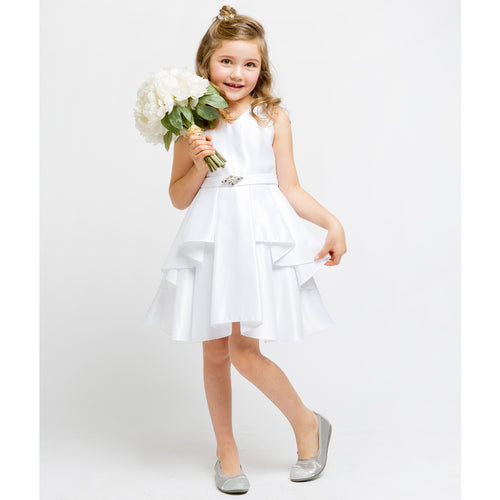 V-NECK SOLID DULL SATIN RUFFLE PLEATED OVERLAY GIRL DRESS