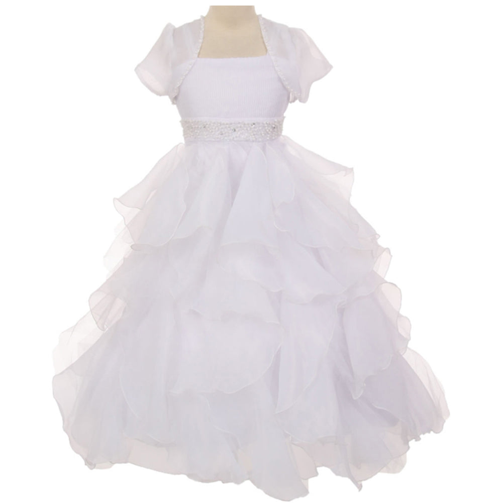 PEARL BEADED WAIST PLEATED BODICE HANDKERCHIEF RUFFLE ORGANZA SKIRT LONG DRESS WITH CARDIGAN