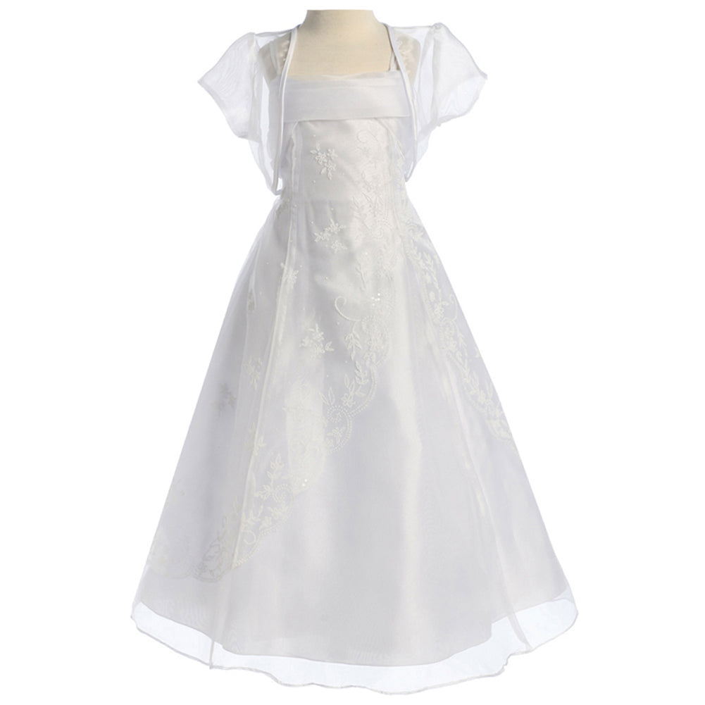 A-LINE ORGANZA DRESS ACCENTED WITH FLORAL DECORATED CAVIAR