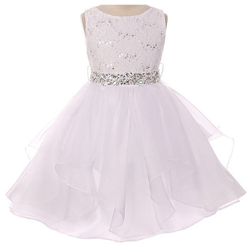 SEQUINED LACE BODICE WITH ASYMMETRIC TULLE SKIRT AND RHINESTONES SASH