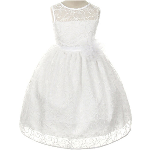 SLEEVELESS COMMUNION SATIN FLORAL LACE DRESS WITH MATCHING FLOWER BROOCH