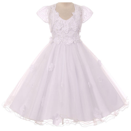 Pop up Flower Appliques  High Low Flower Girl Dress with Lace Bolero