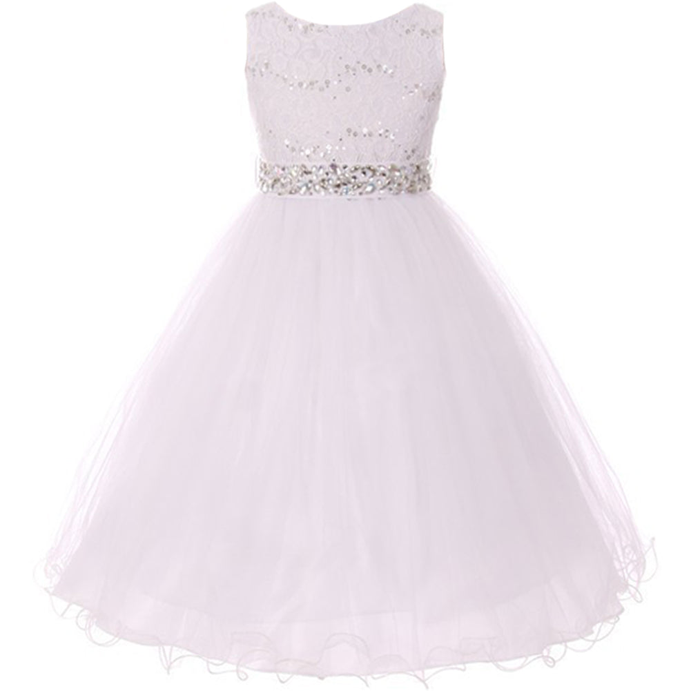 SEQUINED BODICE DOUBLE LAYERED TULLE RHINESTONES SASH
