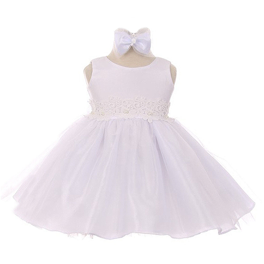 TWO TONE ORGANZA DRESS WITH FLORAL LACE ON WAISTLINE