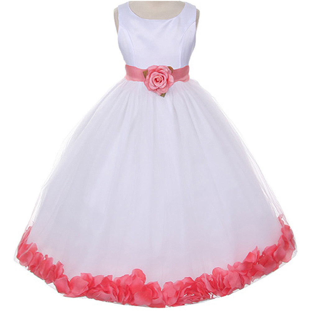 SATIN FLOWER PETALS DRESS WITH DOUBLE LAYERS TULLE