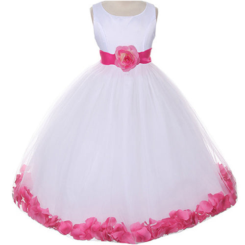 CLASSIC WHITE DRESS WITH FLOATING PETALS ORGANZA SASH AND WAIST FLOWER