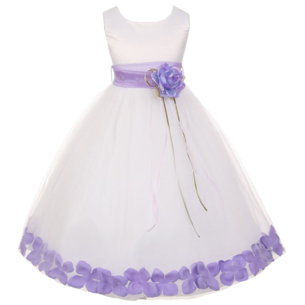 SATIN BODICE WITH FLOATING FLOWER PETALS AND ORGANZA SASH