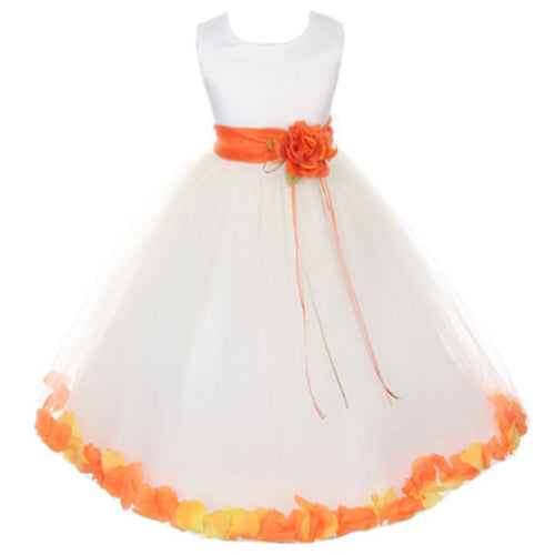 SATIN BODICE WITH FLOATING FLOWER PETALS MATCHING BROOCH AND ORGANZA SASH