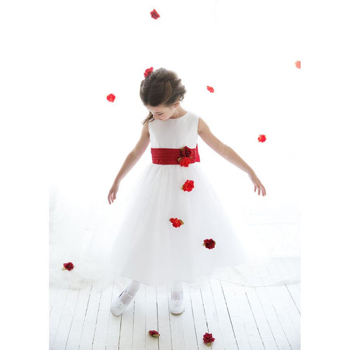 PLEATED WAIST WITH FLOATING CASCADING FLOWERS SATIN AND TULLE DRESS