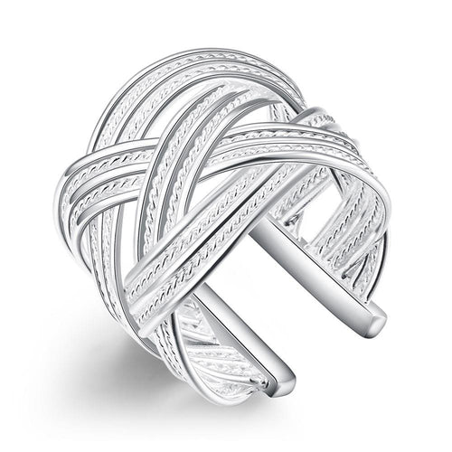 Wave Adjustable Ring - White Gold Plated