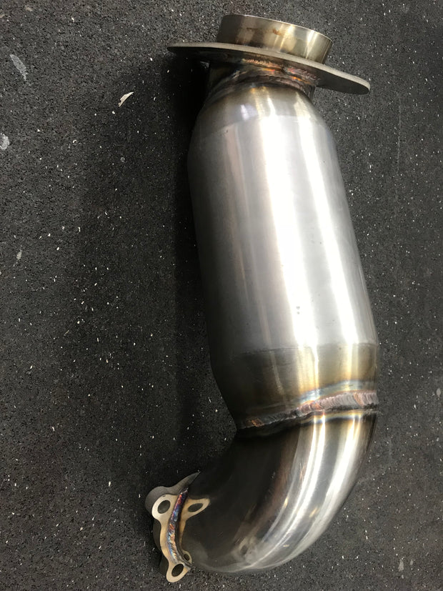 "3.0"" downpipe low elevation with reduced sound muffler."