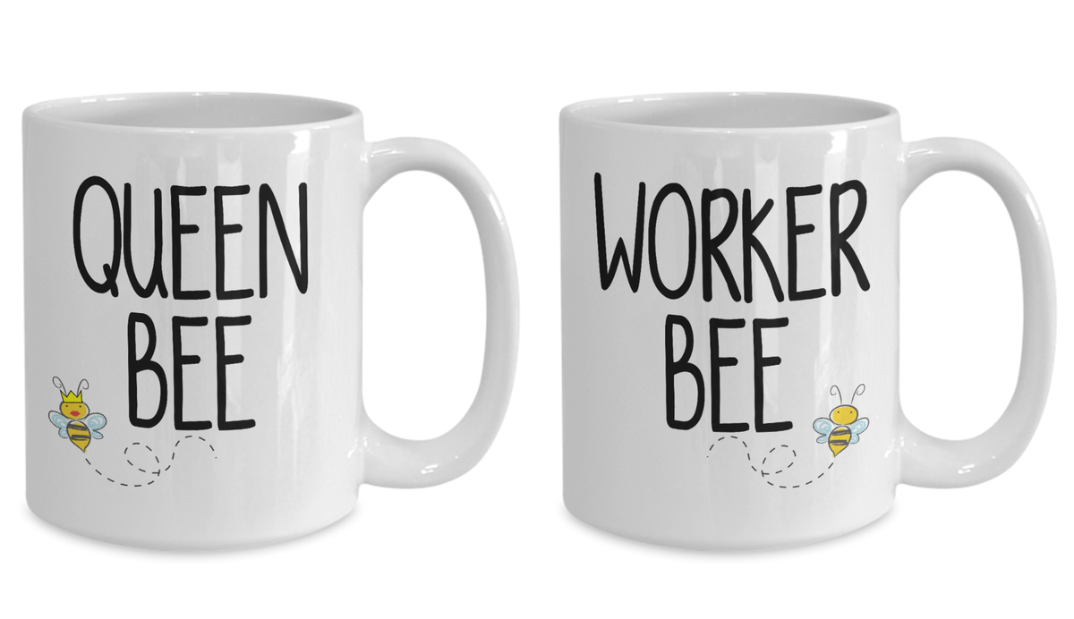 Queen Bee Worker Bee Gift Mug Set